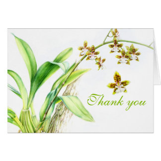 Watercolor orchid greenery wedding thank you card