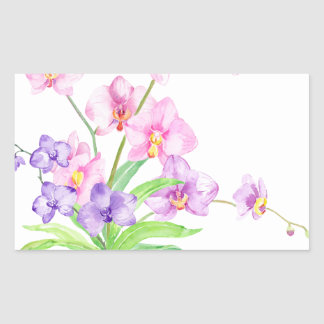 Watercolor Orchid in Pot Rectangular Sticker