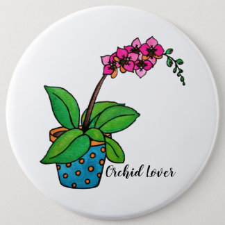 Watercolor Orchid Plant In Beautiful Pot 6 Cm Round Badge