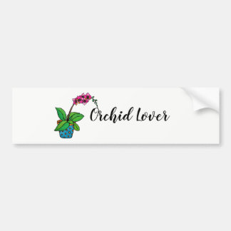 Watercolor Orchid Plant In Beautiful Pot Bumper Sticker