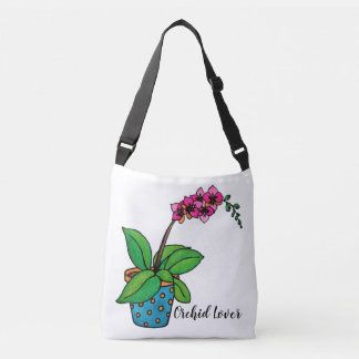 Watercolor Orchid Plant In Beautiful Pot Crossbody Bag