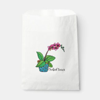 Watercolor Orchid Plant In Beautiful Pot Favour Bag