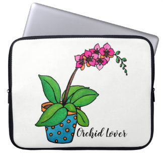 Watercolor Orchid Plant In Beautiful Pot Laptop Sleeve