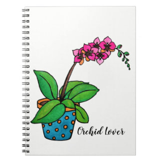 Watercolor Orchid Plant In Beautiful Pot Notebook