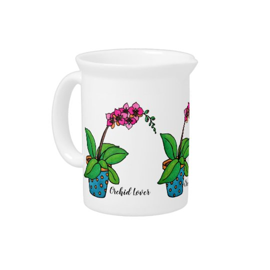 Watercolor Orchid Plant In Beautiful Pot Pitcher
