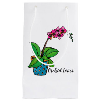 Watercolor Orchid Plant In Beautiful Pot Small Gift Bag
