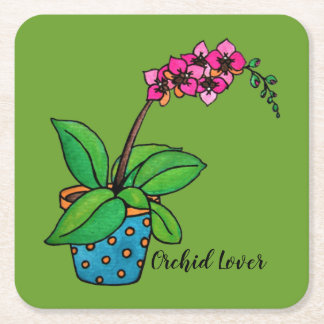 Watercolor Orchid Plant In Beautiful Pot Square Paper Coaster
