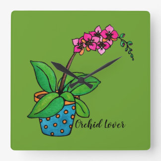 Watercolor Orchid Plant In Beautiful Pot Square Wall Clock