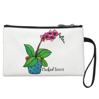 Watercolor Orchid Plant In Beautiful Pot Wristlet