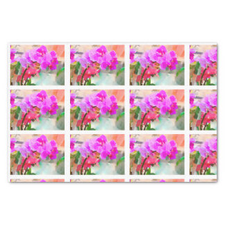Watercolor Orchids Tiles for decoupage Tissue Paper