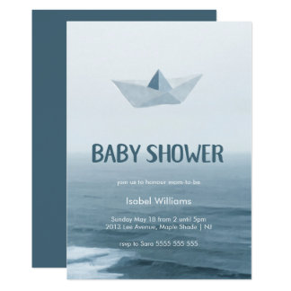 Watercolor Origami Boat on the Water Baby Shower Card