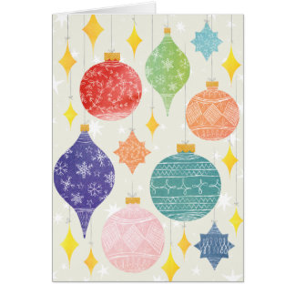 Watercolor Ornaments Christmas Holiday Folded Note Card