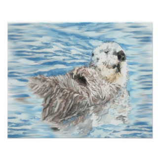 Watercolor Otter Animal relaxing in the water Poster