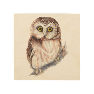 Watercolor Owl Cute Bird Animal Nature Art Wood Canvases