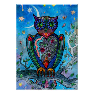 Watercolor owl fantasy cool illustration poster