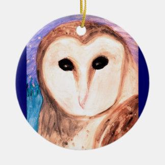 Watercolor Owl Pendant/Ornament Round Ceramic Decoration