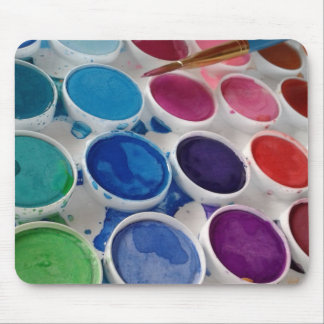 Watercolor paint artist palette mouse pad