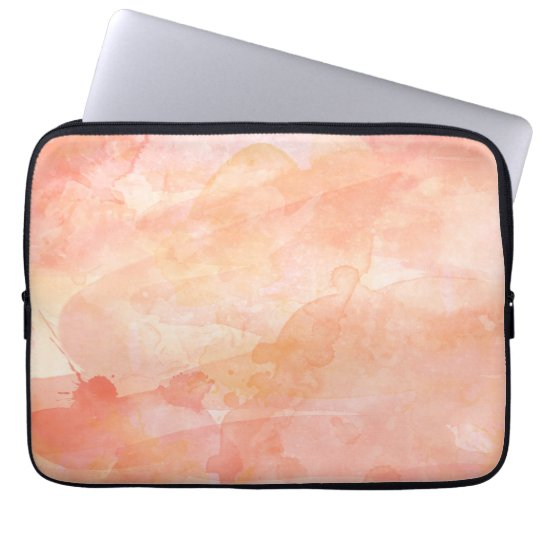 Watercolor Paint Background, Pink Coral Laptop Sleeve