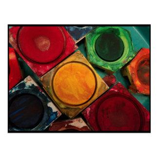 Watercolor paint Box palette Postcard