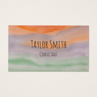 watercolor paint splatter stripes business card