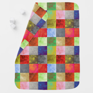 Watercolor Paint Squares Pattern Baby Blanket
