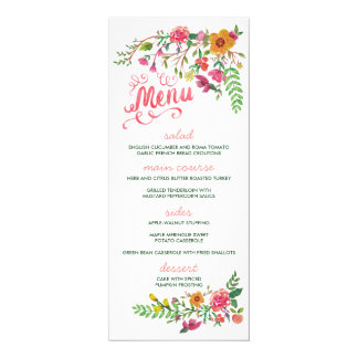 Watercolor Painted Floral Wedding Menu Cards