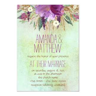 """Watercolor Painted Flower Wedding 5"""" X 7"""" Invitation Card"""