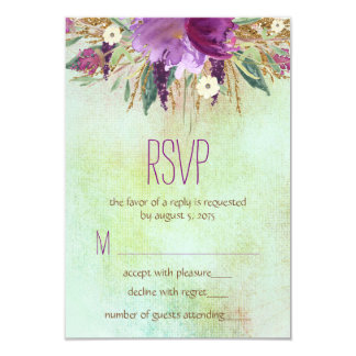 """Watercolor Painted Flower Wedding RSVP 3.5"""" X 5"""" Invitation Card"""