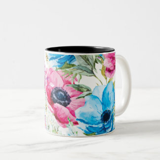 Watercolor Painted Mixed Flowers With Anemones Two-Tone Coffee Mug