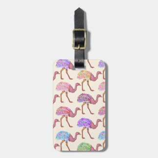 Watercolor Painted Ostrich Pattern Luggage Tag
