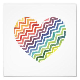Watercolor Painted Rainbow Chevron Heart Print