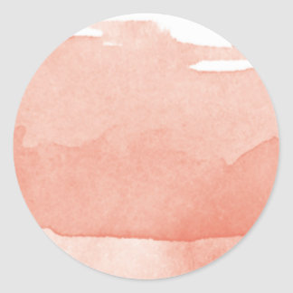 Watercolor Painting Coral Pink Ombre Modern Art Classic Round Sticker