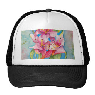 Watercolor Painting Group of Lilies Mesh Hats