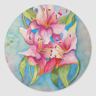 Watercolor Painting Group of Lilies Round Sticker