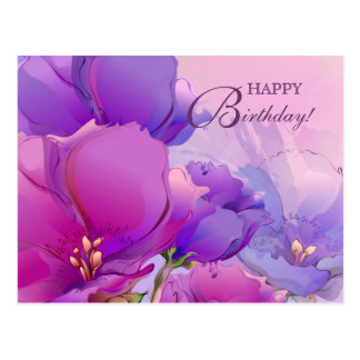 Watercolor Painting Happy Birthday Postcards
