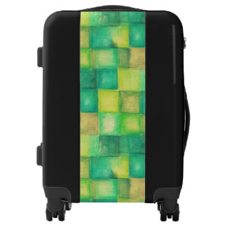Watercolor Painting - Hipster Squares green Luggage