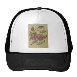 Watercolor painting hummingbirds and hibiscus trucker hats