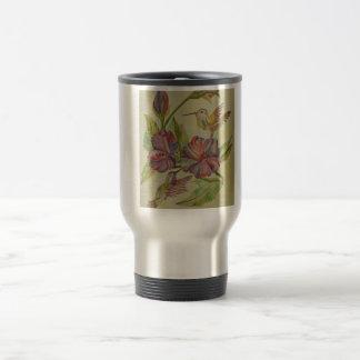 Watercolor painting hummingbirds and hibiscus mug