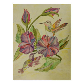 Watercolor painting hummingbirds and hibiscus post card