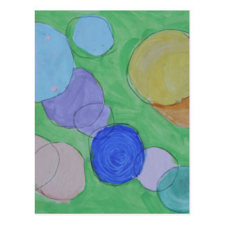 Watercolor Painting of Colorful Circles, Kids Art Postcard