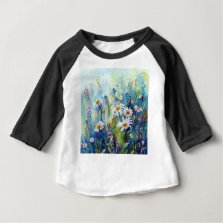 Watercolor painting of daisy field baby T-Shirt