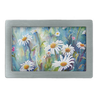 Watercolor painting of daisy field belt buckles