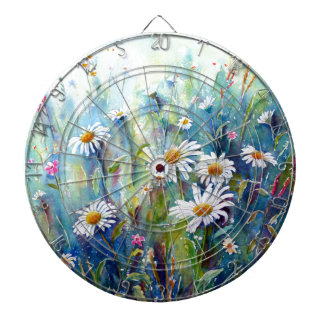 Watercolor painting of daisy field dartboard