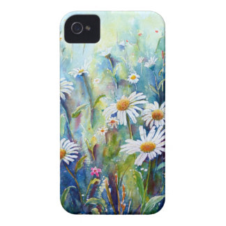 Watercolor painting of daisy field iPhone 4 cases