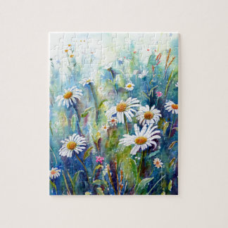Watercolor painting of daisy field jigsaw puzzle