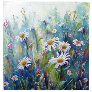 Watercolor painting of daisy field napkin
