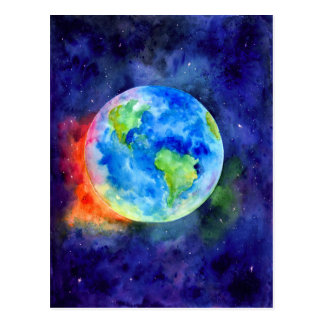 Watercolor painting of Earth Postcard