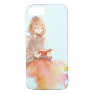 Watercolor Painting of Girl Reading a Red Book iPhone 8/7 Case