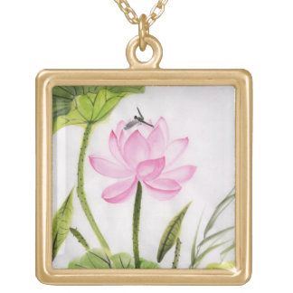 Watercolor Painting Of Lotus Flower 2 Gold Plated Necklace