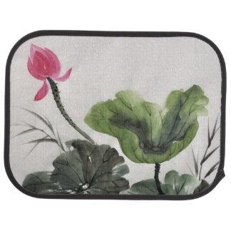 Watercolor Painting Of Lotus Flower Car Mat